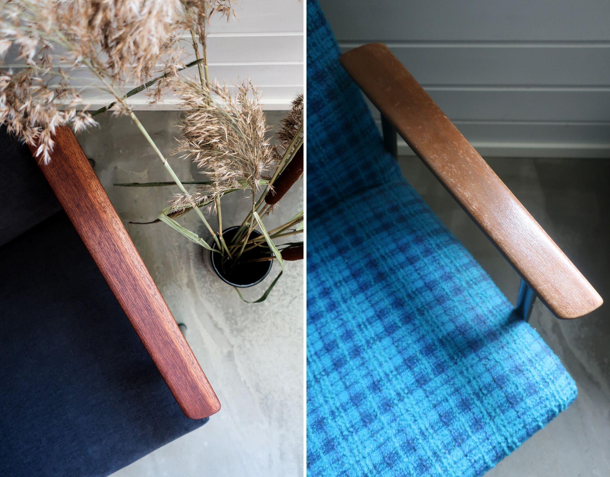 Huonekaluverhoilu kevytnojatuoli käsinoja ennen jälkeen