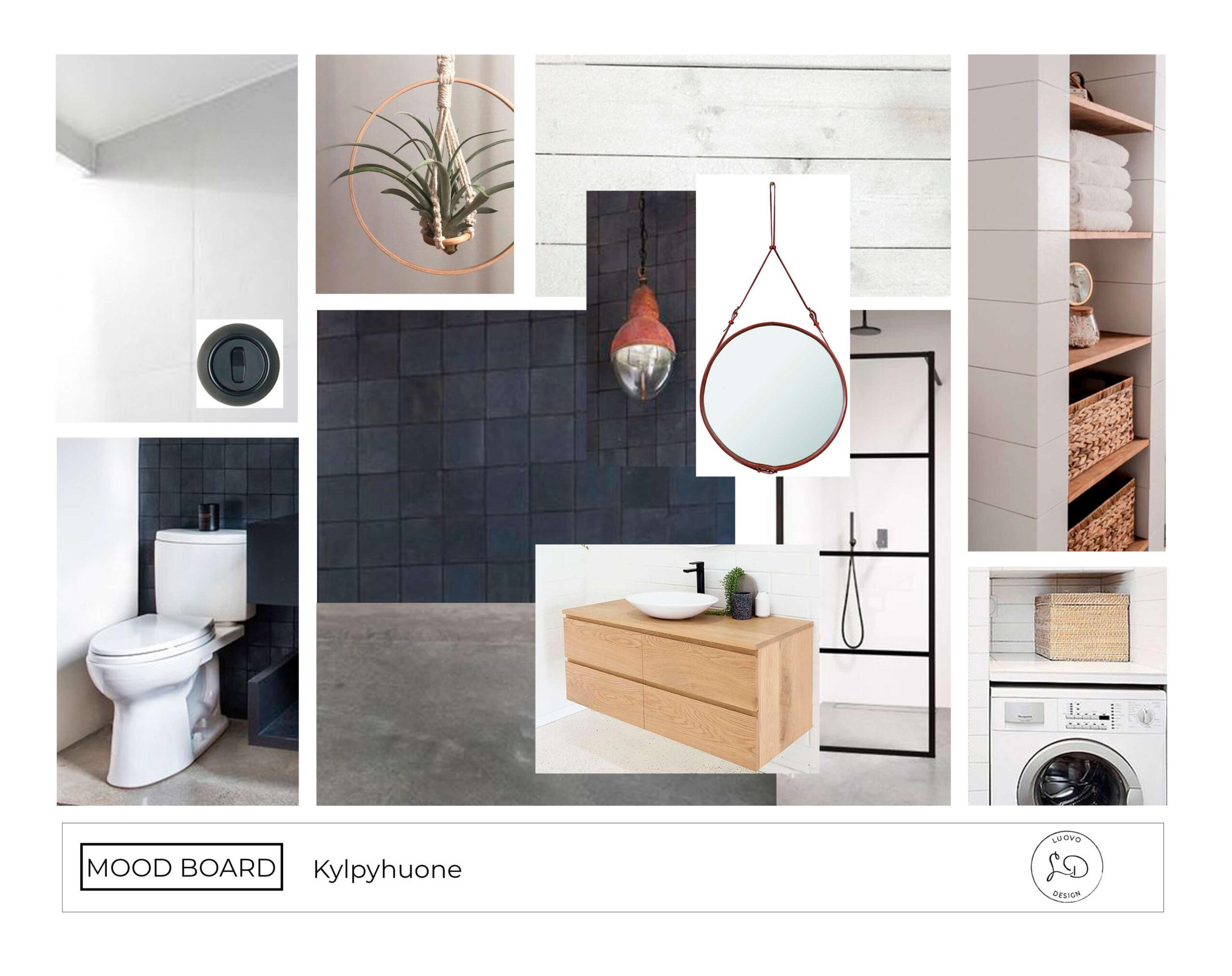 Sisustussuunnittelu kylpyhuone mood board